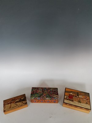 Lot 22 - Vintage Russian hand painted wooden boxes.
