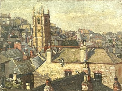 Lot 30 - Eileen IZARD St Ives Rooftops Oil on canvas...