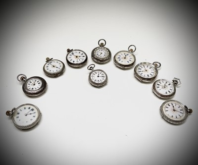 Lot 68 - Ten silver cased keyless fob watches each with...