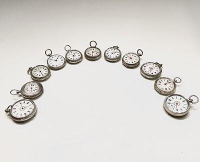Lot 71 - Ten silver cased key-wind fob watches each...