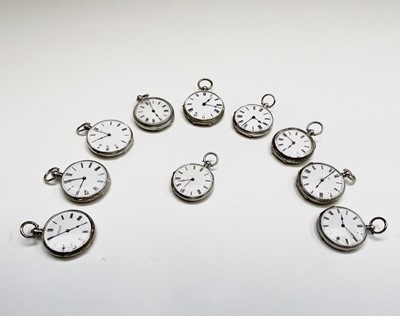 Lot 18 - Ten silver cased key-wind fob watches each...