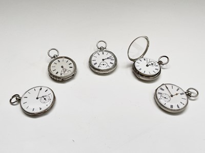 Lot 82 - Five silver key-wind fob watches each with...