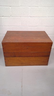 Lot 61 - A large pine chest in two sections, height...
