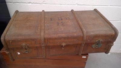 Lot 60 - A vintage travel trunk initialed E.D.M 12,...