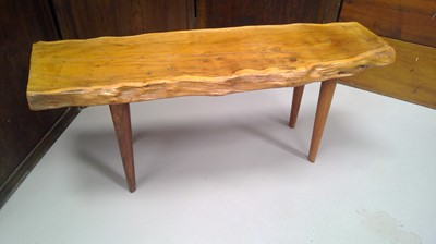 Lot 1 - A live edge yew coffee table/stool, height...
