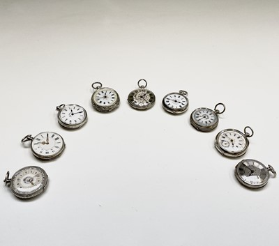 Lot 87 - Nine key-wind silver fob watches. Phillip...