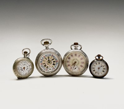 Lot 84 - Two fancy silver cased keyless pocket watches...