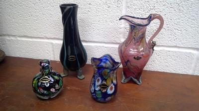 Lot 46 - A Langsworthy Cornwall glass jug, a vase,...