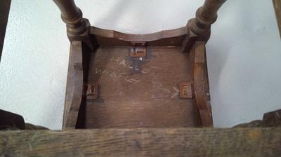 Lot 41 - An oak joint stool, height 41cm width 34.5cm...
