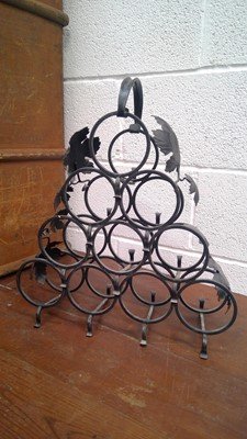 Lot 91 - A wrought iron wine rack, height 50m