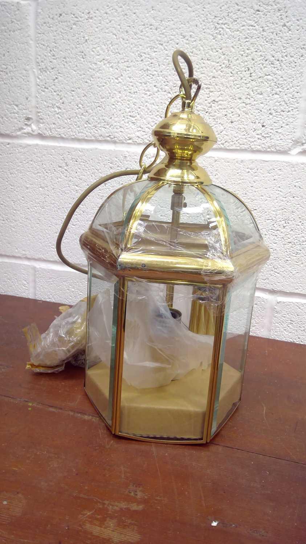 Lot 38 - A brass hall lantern, height 40cm
