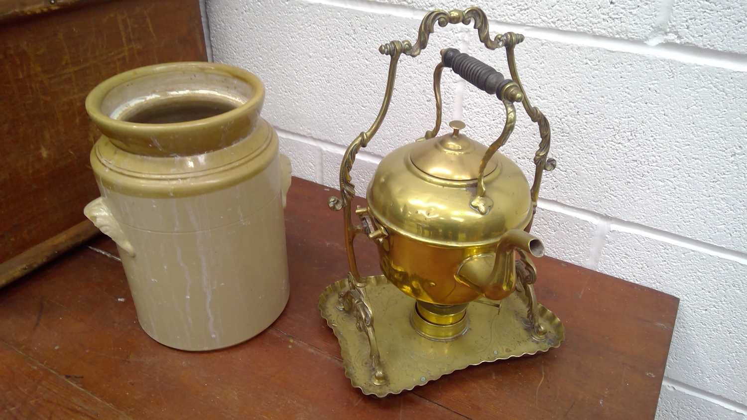 Lot 24 - A brass kettle stand and burner, height 38cm,...