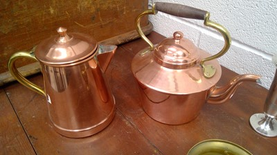 Lot 36 - Copper and brass kettle, copper and brass hot...