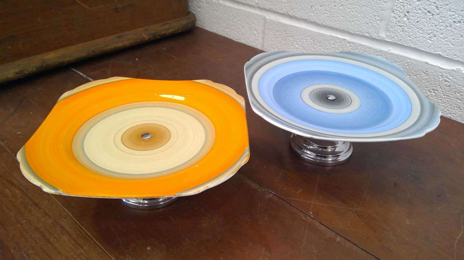 Lot 34 - Two Shelley chrome base comports height 9cm.