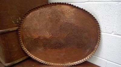 Lot 3 - An arts and crafts copper tray with chased...