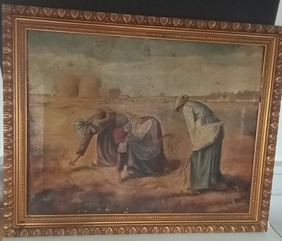 Lot 3 - 'The Gleaners' - After Millet 19th century oil...