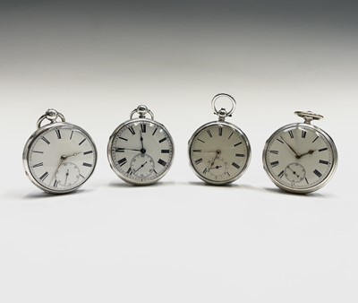 Lot 25 - Four English fusee silver open face pocket...