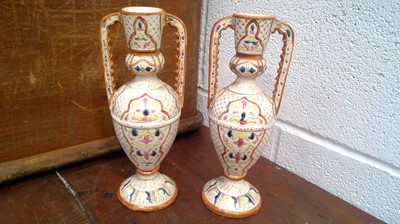 Lot 15 - A pair of Hispano Moresque style pottery vases...
