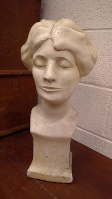 Lot 19 - A chalk plaster bust of a lady, height 53cm