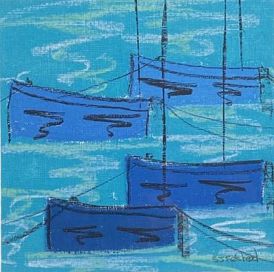 Lot 74 - Stephen FELSTEAD (1957) Blue Boats, Mousehole...
