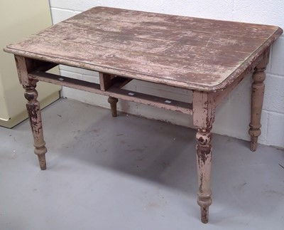 Lot 16 - A Victorian pine kitchen table, height 75cm...