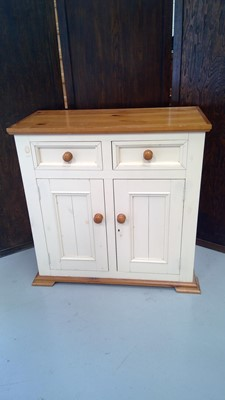 Lot 5 - A painted pine sideboard, height 90cm width...