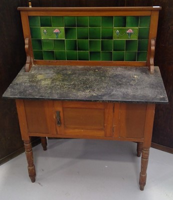 Lot 9 - A Victorian mahogany marble top washstand with...