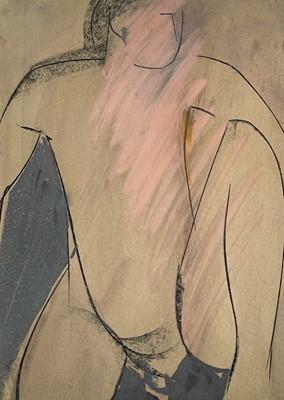 Lot 78 - Mary STORK (1938-2007) Seated Nude Mixed media...