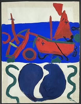 Lot 79 - Roger HILTON (1911-1975) At Sea Gouache Signed...