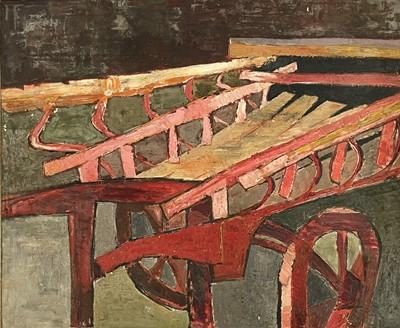Lot 82 - Post War School A farm hand-cart Oil on board...
