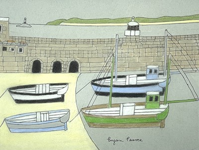 Lot 39 - Bryan PEARCE (1929-2006) Four Boats - St Ives...