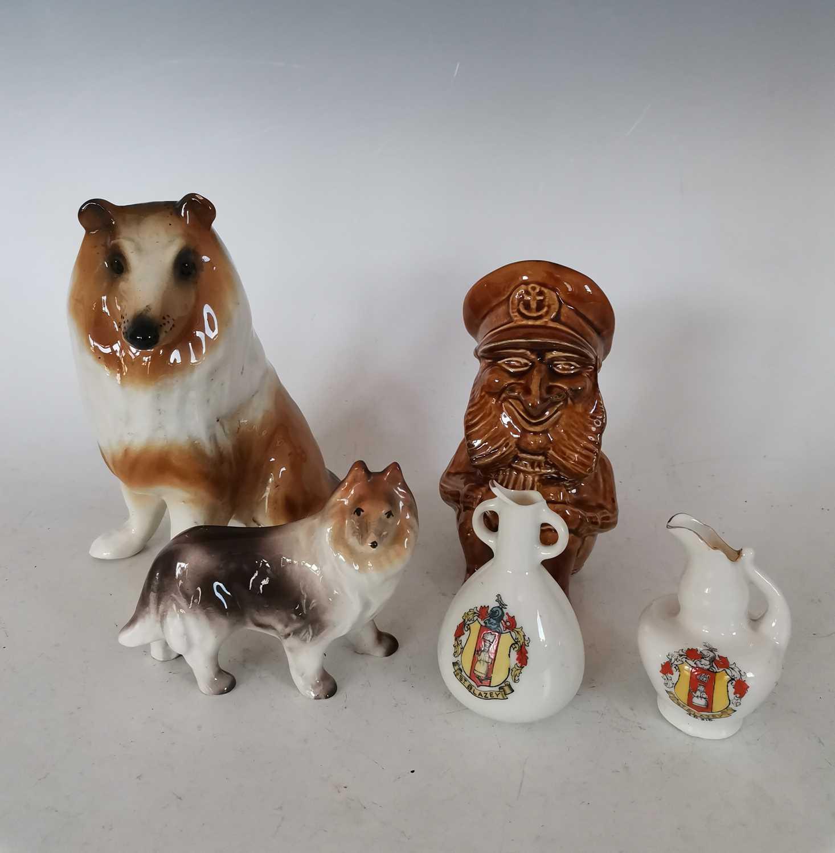 Lot 46 - Two rough collie porcelaine figurines, a...
