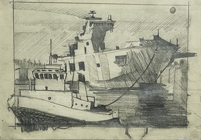 Lot 417 - Theo CRUTCHLEY-MACK Falmouth Docks Drawing...