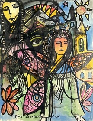 Lot 367 - Alice LENKIEWICZ (1964) Abstract Figures Mixed...