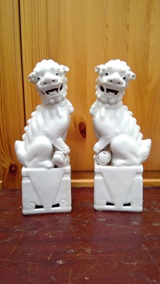 Lot 2 - A pair of 20th-century Chinese blanc de chine...