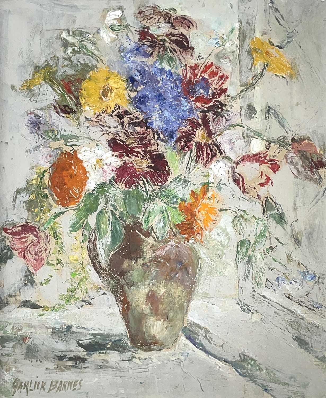 Lot 13 - Garlick BARNES (1891-1987) Vase of Flowers Oil...