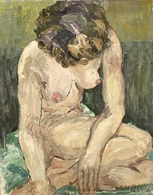 Lot 15 - Garlick BARNES (1891-1987) Seated Nude Oil on...