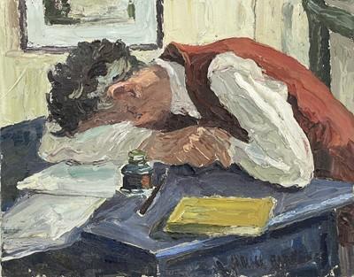 Lot 11 - Garlick BARNES (1891-1987) Man Asleep at his...