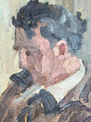 Lot 18 - Garlick BARNES (1891-1987) Man Reading Oil on...