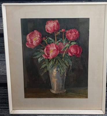 Lot 3 - Charles HARVEY? flowers in a vase, watercolour,...