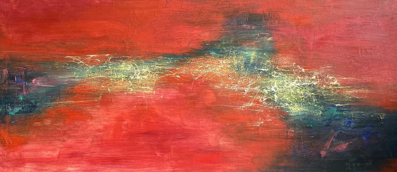 Lot 1094 - Bó YÚN 薄云 (1948) Abstract Landscape Oil on...