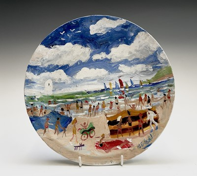 Lot 40 - Simeon STAFFORD (1956) On the Beach - St Ives...