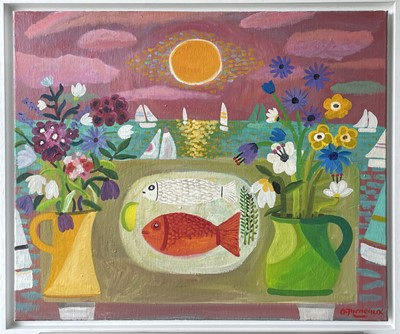 Lot 399 - Alan FURNEAUX (1953) Pink Sky Over a Cornish...