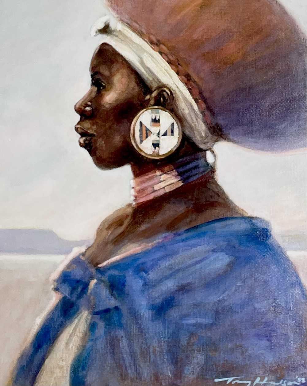Lot 355 - Anthony J. HUDSON (1937-1989) Zulu Woman Oil...