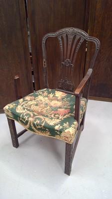 Lot 20 - A Georgian period mahogany armchair, the back...