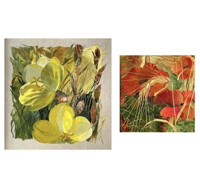 Lot 419 - Amanda RICHARDSON Flowers Two collaged works