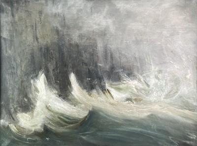 Lot 1006 - Alec WILES (1924) North Coast Storm Oil on...