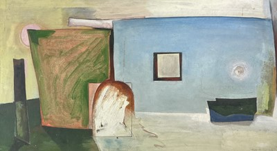 Lot 1020 - Alec WILES (1924) Untitled Oil and collage on...