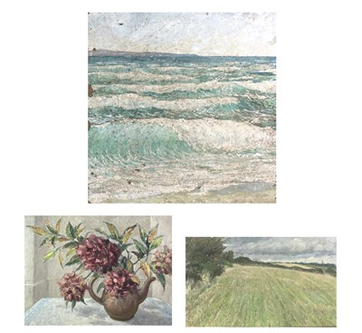 Lot 1031 - Alec WILES (1924) Waves Oil on board Signed 40....