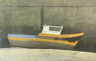 Lot 1007 - Alec WILES (1924) Fishing Boat, Low Tide Oil...